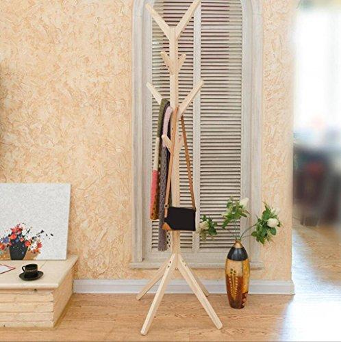 Mantel Rack Kleiderbügel im Schlafzimmer Mantel Racks Massivholz Landung Schlafzimmer Einfache Mode Kreative Kleiderbügel Regale YANGJR-Kleiderständer ( Farbe : Holz Farbe )