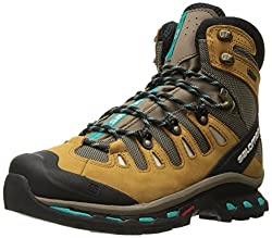 Salomon Women's Quest 4d 2 Gtx W Backpacking Boot, Shrewcamel Gold Leatherteal Blue Fabric, 10