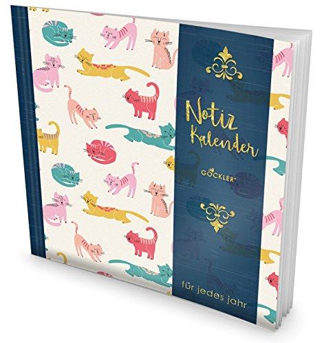GOCKLER® Notiz-Kalender: Universaler Tagebuch-Kalender || 1 Zeile pro Tag + Notizseiten + Glänzendes Softcover || Ideal für Geburtstage, To Do's & Termine || DesignArt.: Bunte Katzen
