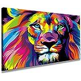 80 x 60 cm Bild auf Leinwand Löwe bunt 4001-SCT deutsche Marke und Lager - Die Bilder / das Wandbild / der Kunstdruck ist fertig gerahmt