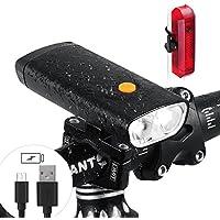 Luz led para bicicleta con cargador portátil, 5000 mAh, 1000 lúmenes, faro de bicicleta recargable con puerto USB, impermeable, luz delantera y trasera, adecuado para todo tipo de bicicletas, negro