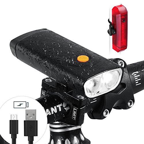 élo à LED Lumière Chargeur portable - 5000 mAh rechargeables 1000 lm Vélo Phare avec fonction sortie USB - étanche Set avant Feu arrière de vélo compatible avec tous les vélos