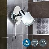 B.K. Licht applique murale LED spécial salle de bain, IP44, interrupteur à cordelette, spot orientable, luminaire salle de bain, blanc chaud, GU10, 230V, IP44, 5W...