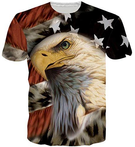 Goodstoworld 3D Eagle Print T Shirt Herren Damen Sommer Lustige Beiläufige Kurzarm Aufdruck T-Shirts Tee Top XXL - Eagle Print Tee