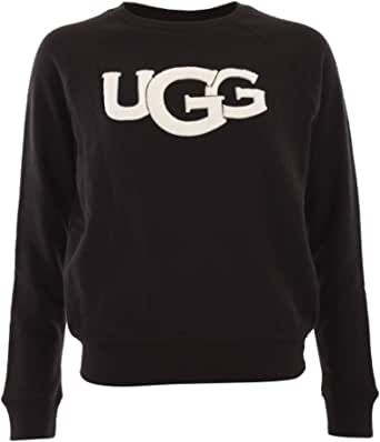 UGG Fuzzy Logo Crewneck Sweater 2021 Black
