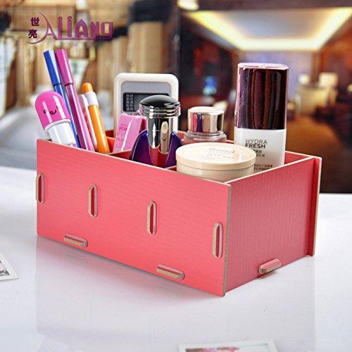 Mjhwsx stoccaggio cosmetici box Grande capacità cosmetici bagagli visualizzare le finestre di legno Dresser Makeup Tabella bagno Scrivania bagagli cassetti armadio decorativo 19,7 * 13 * 8cm , watermelon red