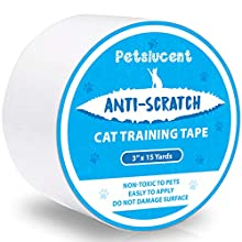 Petslucent Cat Scratch Deterrent Sticky Paws Tape, Cat Furniture Protector Training Tape Anti Scratching, Double Sided Guards for Carpet, Sofa, Couch, Door (Blue- 3''x 15 Yards)
