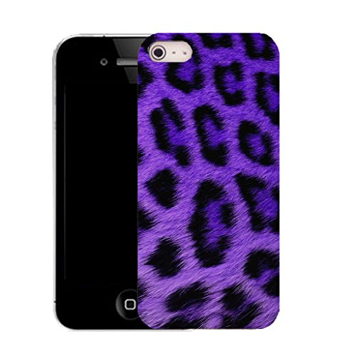 """Mobile Case Mate IPhone 6S 4.7"""" clip on Silicone Coque couverture case cover Pare-chocs + STYLET - PURPLE LEOPARD pattern (SILICON)"""