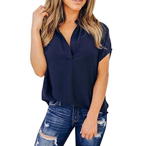 Heißer Verkauf Bluse, Kingwo Frauen Sommer Chiffon Kurzarm T-Shirt Freizeithemd Tops (Marine, L) (Kinder Stiefel Auf Verkauf)