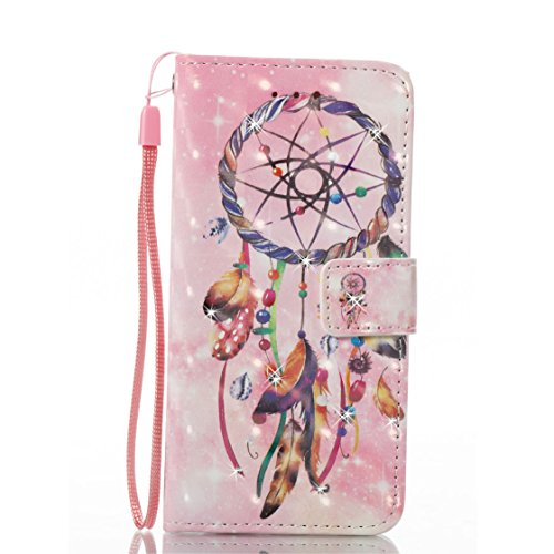 iPhone 5S Custodia, Copertura per iPhone 5 SE 5G, | PU Portafoglio in pelle Progettato case di Slot per schede stare | | Diamanti Bling Fiore Totem | Polvere di scorrimento antigraffio Cover rosa 3