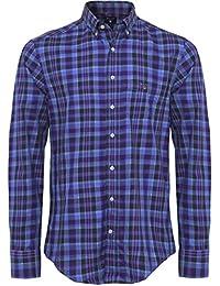 Gant Hommes Chemise à carreaux Tartan ajustement régulier Indigo