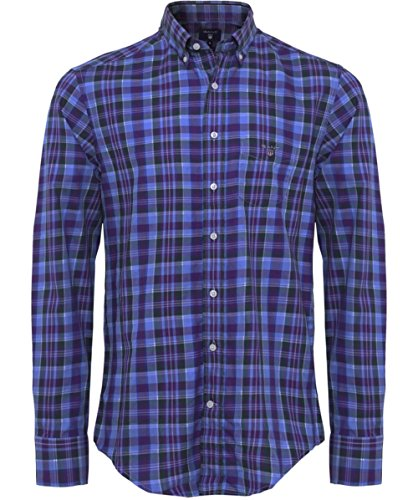 Gant Uomo Camicia Regular Fit in Tartan Indigo M
