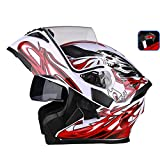 JiaoLiao Uncovering Helm Motorrad Outdoor Reiten LED Rücklicht Warning HD Antibeschlag-Spiegel Integralhelm Herren Damen Cool - XL - White Red Devil