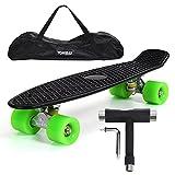 Yorbay 22' Mini Cruiser Skateboard Cuscinetti a Sfera ABEC-7 Vari Colori e Diversi Tipi di Ruote a Scelta (Pannello Nero Ruote Verdi PU)