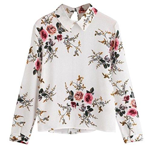 JUTOO Mode Damen Casual Langarm Revers Blumendruck Bluse Tops T-Shirt(Weiß,EU:42/CN:L)
