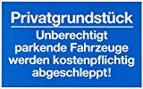 Metafranc Hinweisschild Privatgrundstück unberechtigtes Parken - 400 x 250 mm/Beschilderung/Verbotsschild/Halteverbot/Parkverbot/Grundstückskennzeichnung/Gewerbekennzeichnung/500510