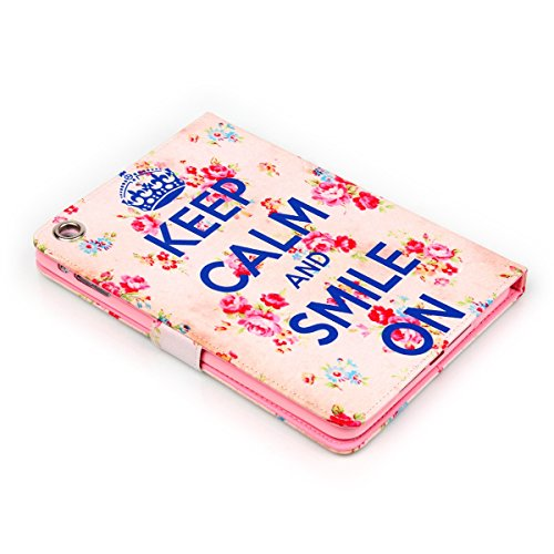 Ipad Mini Wallet Cover, Ipad Mini Flip Leather Case Back Cover,Ukayfe Stand Function PU Leather Case Premium Soft Slim Cover Bookstyle with Magnet Closure for Apple Ipad Mini /Ipad Mini 2 /Ipad Mini 3 Keep Calm and Smile On