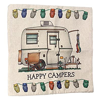 Pillow Case, Ularma HAPPY CAMPERS Letters Print Linen Throw Cushion Cover Sofa Bed Home Decor - inexpensive UK light store.