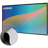 """Pantalla Proyector Enrollable, NIERBO Pantalla de Proyección 100"""" PVC Antiarrugas Blanco para Cine en casa Full HD 3D Proyector 220x126cm (con Herramienta de Instalación)"""