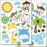 WANDKINGS Baby Safari Tiere Wandsticker Set - 40 kunterbunte Aufkleber fürs Kinderzimmer