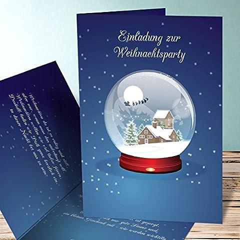 Weihnachtsfeier Einladungen, Schneekugel 130 Karten, Vertikale Klappkarte 105x148 inkl. weiße Umschläge, Blau