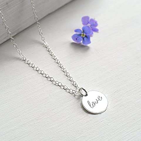 Personalised Sterling Silver Little Love Disc Pendant Necklace