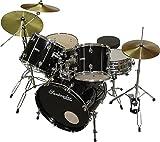 Santander Schlagzeug Set 9-teilig + Ständer, Becken, Hocker, schwarz