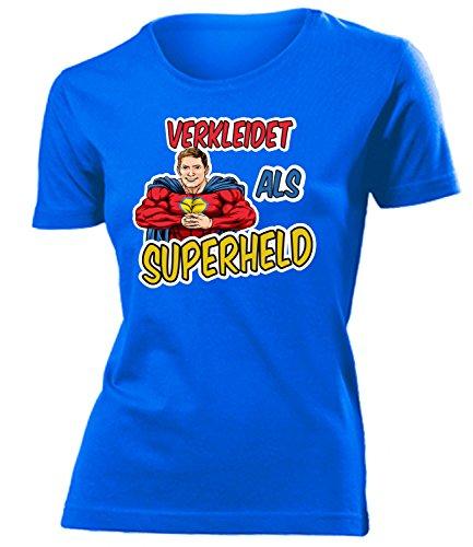 Superheld 4910 Kostüm Kleidung Damen T-Shirt Frauen Karneval Fasching Faschingskostüm Karnevalskostüm Paarkostüm Gruppenkostüm Blau L (Superhelden Motto Party Kostüm Ideen)