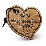 Fashionalarm Schlüsselanhänger Herz Beste Patentochter der Welt aus Holz mit Gravur | Geschenk Idee für Patenkind Geburtstag Weihnachten Taufe