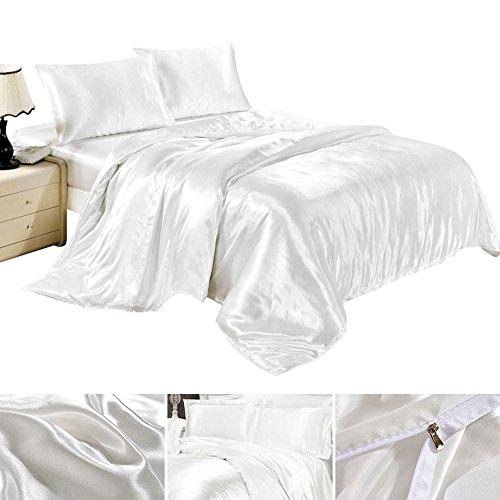 Completo lenzuola federe lenzuolo copripiumino in seta satin raso matrimoniale una piazza e mezza tinta unita bianco (220 x 240)