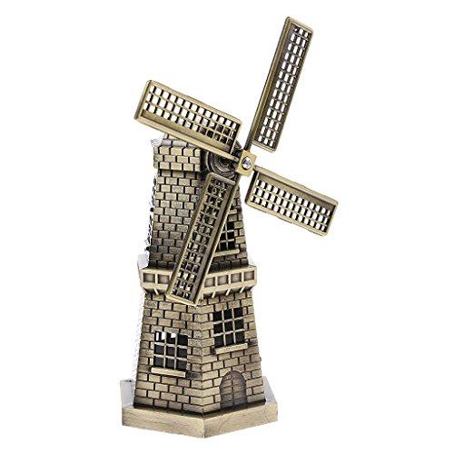 MagiDeal Kupfer Niederländische Windmühle Modell Statue Figur für Bücherregal Dekor - Bronze 2 (Bücherregal Bronze)