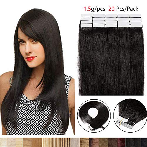 Extension capelli veri biadesivo 20 fasce 100% remy human hair 45cm #1b nero naturale 30g/set