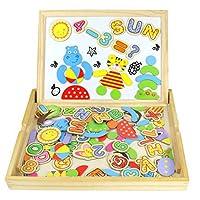 Tablero Magnético de Dibujo de Madera de Doble Cara Tablero Magnético Puzzle Juegos de Rompecabezas Magnéticos de Madera Juguetes Educativos para Niños 100 Piezas (Número y Letra) de CY TOYS FACTORY