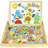 Jouets en Bois Tableau Enfants Double Face Puzzle Enfant Magnétique Planche Lettres et Chiffres Jouets Educatif Pour Les Enfants Garçons et Filles de 3 Ans et Plus (98 Pièces)