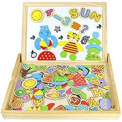Puzzles Enfant Jouet en Bois Magnétique - Puzzle Enfant 3 Ans Tableau Enfants Double Face Magnétique Lettres et Chiffres Jouets Educatif pour Jouet Garçons Fille 3 Ans 4 Ans 5 Ans 90 Pièces