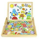 Tablero Magnético de Dibujo de Madera de Doble Cara Tablero Magnético Puzzle Juegos de Rompecabezas Magnéticos de Madera Juguetes Educativos para Niños 90Piezas (Número y Letra)