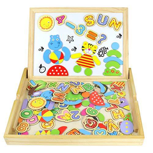 Pädagogisches Holzspielzeug, Lernspiele 90 Stück, Magnetisch, Magnetbuchstaben Kinderpuzzle, Magnettafel kinder, Tolles Geschenk für Junge Mädchen ab 3 4 5 Jahre