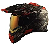 Broken Head Road Pirate Cross-Helm Special Edition mit rot verspiegeltem Visier | Endurohelm - MX Motocross Helm mit Sonnenblende - Quad-Helm (L 59-60 cm)