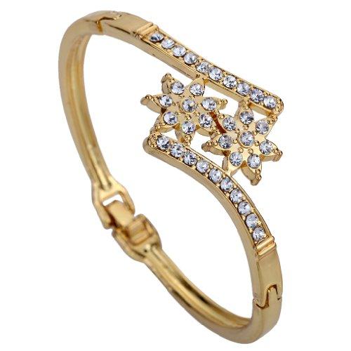 Yazilind Nizza Schmuck -Gold überzogen Double Flower Carve Diamante Kristall Charme -Armband-Armband 2.2