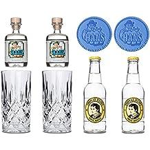 Ein super Geschenk! Lucky HANS Bavarian Dry Gin & Tonic Set - Inkl. 2x Lucky HANS Gin Minis / 2x Thomas Henry Tonic Wasser / 2x Kristallglas / 2x Glasuntersetzer - Edel und sau-lecker!