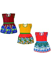 Sathiyas Girls 100% Cotton Frocks (Pack of 3) (asvinf58_g) (12-18 Months)