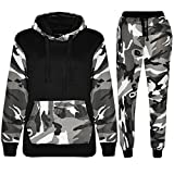 Kids Boys Camouflage Tracksuit Fleece Hoodie Hooded Top Bottom Joggers Gym Sports