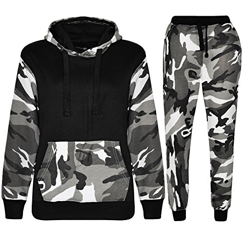 Nike Kids Fleece (Kids Boys Camouflage Tracksuit Fleece Hoodie Hooded Top Bottom Joggers Gym Sports)