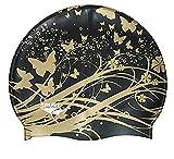 Moolecole Mode Damen Wasserdicht Silikon Badekappen Weiche Schwimmen/Baden/Schlaf Kappe Schwimmkappe Haarpflege Swim Cap Schwarz Schmetterling