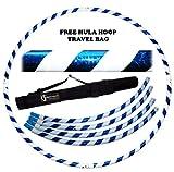 Pro Hula Hoop Reifen Erwachsene (Weiß/Blau) Zerlegbarer 4 piece Travel Hula Hoop für Training u. Tanz HoopDance - Größe 100cm, Gewicht 650g