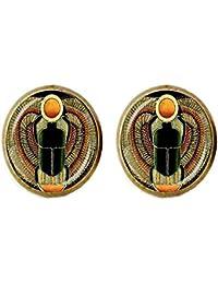 95eaa1a35abe Pendientes de cúpula de cristal egipcio con símbolo de fuerza