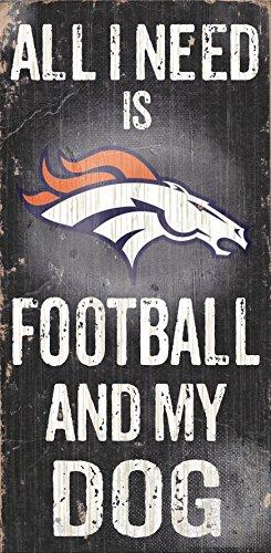 Fan Creations Denver Broncos Holz Schild-Fußball und Hund 15,2x 30,5cm -