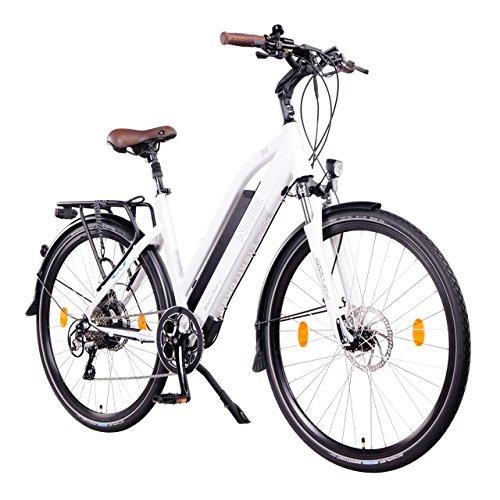 "NCM Milano Plus 48V, 28"" Zoll Damen & Herren Urban E-Bike, 250W Das-Kit Heckmotor, 16Ah 768Wh Panasonic Li-Ion Zellen Akku, hydraulische Scheibenbremsen, 8 Gang Shimano Schaltung (Weiß Plus 28"")"