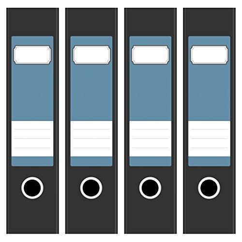 4 x farbige Akten-Ordner Etiketten / Aufkleber / Rücken Sticker / Farbe Modernes Blau-Grau / für breite Ordner / selbstklebend / 6cm breit