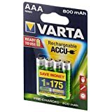 VARTA Ready2Use Akku Mikro AAA 800 mAh 4er Pack Accu NiMH, 056703, Micro